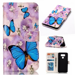 Pattern Printing Embossed Leather Protective Phone Casing for LG G6 - Butterfly
