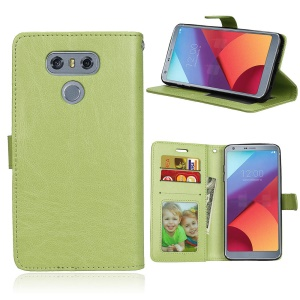 Crazy Horse Magnetic Leather Flip Phone Casing with Stand for LG G6 - Green