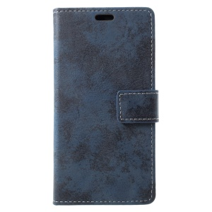Vintage Style Magnetic Leather Wallet Case for HTC U11 Life - Blue