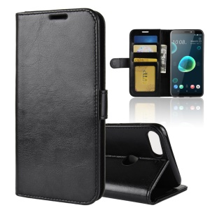 Crazy Horse Magnetic Stand Wallet Leather Mobile Phone Shell for HTC Desire 12+ / Desire 12 Plus - Black