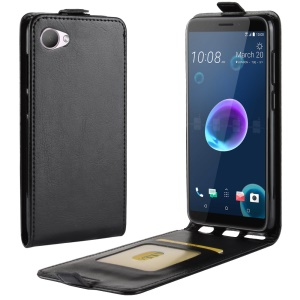 Crazy Horse Vertical Flip Leather Phone Casing with Card Holder for HTC Desire 12 - Black