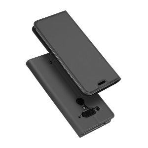 DUX DUCIS Skin Pro Series Flip Stand Leather Protective Case for HTC U12+ - Dark Grey