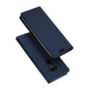 DUX DUCIS Skin Pro Series Flip Stand Leather Mobile Phone Shell for HTC U12+ - Dark Blue