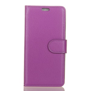 For HTC U12 Life Mobile Casing Litchi Grain PU Leather Walle Case with Stand - Purple