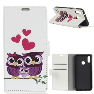 Pattern Printing Leather Wallet Case for HTC U12 Life - Owls and Hearts