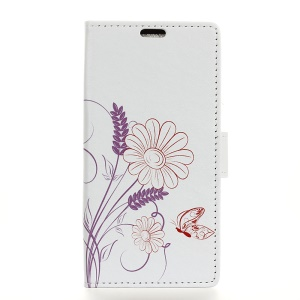Pattern Printing Cell Phone Leather Wallet Case for HTC U12 Life - Flowers Pattern