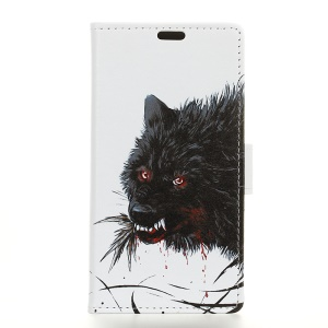 Pattern Printing Magnetic Leather Stand Case for HTC U12 Life - Black Wolf