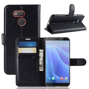 Litchi Skin Wallet Leather Stand Case for HTC Desire 12s - Black