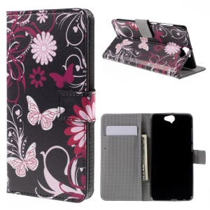 Wallet Leather Stand Cover for HTC One A9 - Butterfly Flowers