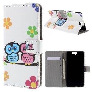 Leather Magnetic Cover with Card Slots for HTC One A9 - Adorable Owls and Flowers