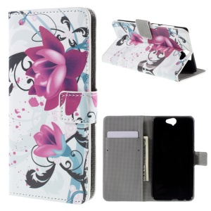 Wallet Leather Phone Case for HTC One A9 - Purple Flowers