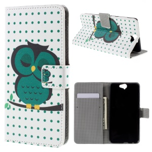 PU Leather Stand Case for HTC One A9 - Sleep Owl on the Branch