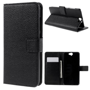 Lychee Texture Wallet Leather Case for HTC One A9 with Stand - Black