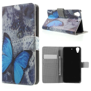 PU Leather Wallet Stand Cover for HTC Desire 626 - Blue Butterfly