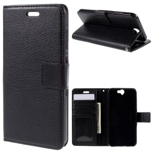 Lychee Photo Slot Wallet Leather Case for HTC One A9 with Stand - Black