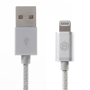 OPSO MFI Certified 1M Lightning 8Pin USB Cable Data Sync Charging Braided - Silver
