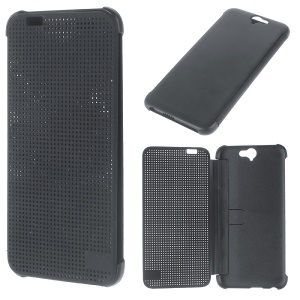 Flip Silicone PC Dot View Case for HTC One A9 - Black