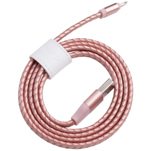 MOMAX MFI Genuine Leather Woven Lightning 8pin Cable Kit for iPhone iPad iPod (11cm+1m) - Rose Gold
