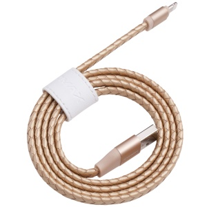 MOMAX MFI Genuine Leather Woven Lightning 8pin Cable Kit for iPhone iPad iPod (11cm+1m) - Gold