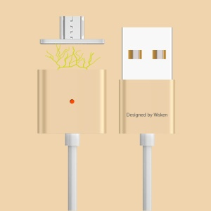 WSKEN X-cable Magnetic Micro USB Cable for Samsung HTC (Double Metal) - Gold Color