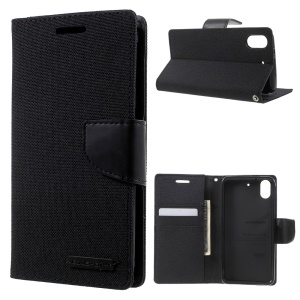MERCURY GOOSPERY Canvas Leather Wallet Cover for HTC Desire 626 / 626s - Black