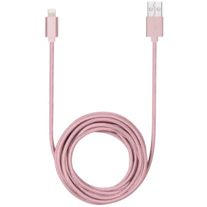 MOMAX Elite 3M MFI Lightning 8pin Woven Charge Sync Cable for iPhone iPad iPod - Pink