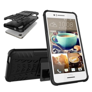 Snap-on Anti-slip PC + TPU Hybrid Case with Kickstand for HTC Desire 728 - Black