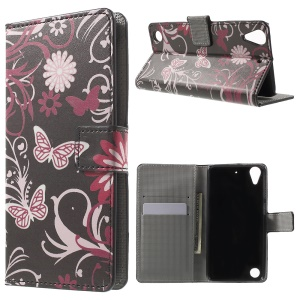 Leather Wallet Case for HTC Desire 530/630 with Stand - Butterfly and Flower
