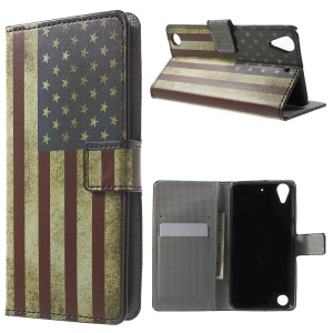 Leather Wallet Shell for HTC Desire 530/630 with Stand - US Flag