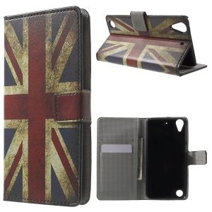 Leather Wallet Case for HTC Desire 530/630 with Stand - Retro UK Flag