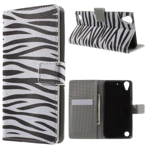 Leather Card Holder Case for HTC Desire 530/630 with Stand - Zebra Pattern