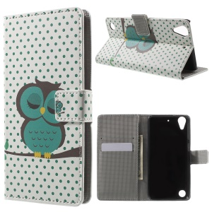 Leather Card Slot Case for HTC Desire 530/630 with Stand - Dozing Owl