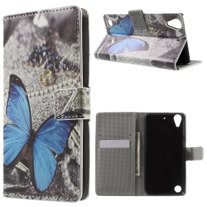 Leather Wallet Shell for HTC Desire 530/630 with Stand - Blue Butterfly