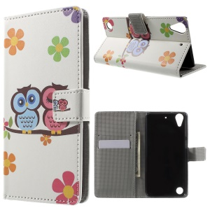 Leather Wallet Case for HTC Desire 530/630 with Stand - Owl Couple