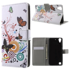 Leather Wallet Case for HTC Desire 530/630 with Stand - Butterfly and Circle