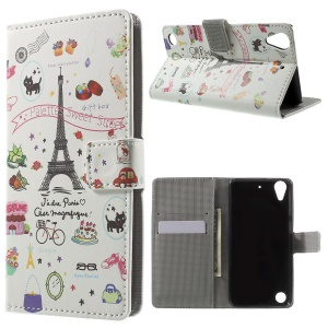 Leather Wallet Case for HTC Desire 530/630 with Stand - Palettes Sweet Street