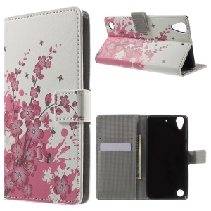 Leather Wallet Flip Case for HTC Desire 530/630 with Stand - Plum Blossom
