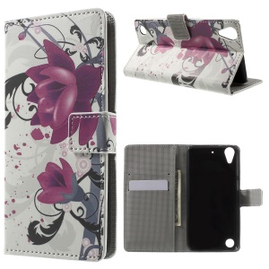 Leather Wallet Phone Case for HTC Desire 530/630 with Stand - Purple Flower