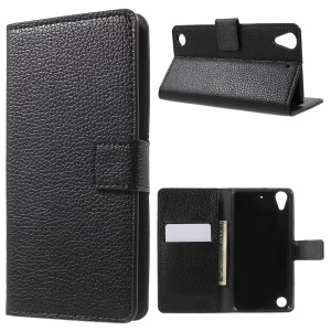 Litchi Skin Wallet Leather Stand Case for HTC Desire 530/630 - Black