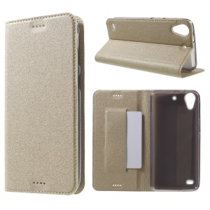 Sand-like Texture Leather Protective Phone Shell for HTC Desire 530/630 -  Gold