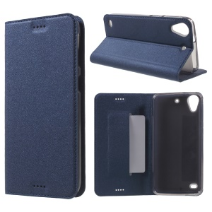 Sand-like Texture Stand Leather Flip Phone Case for HTC Desire 530/630 - Dark Blue