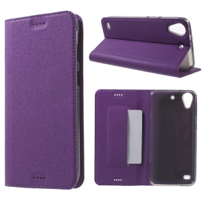 Sand-like Leather Stand Phone Case for HTC Desire 530/630 - Purple