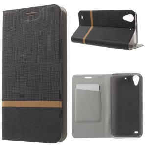 Cross Texture Leather Stand Flip Case for HTC Desire 530 - Black
