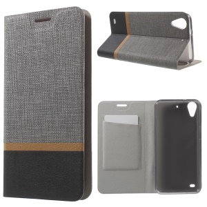Cross Texture Leather Card Holder Shell Cover for HTC Desire 530 - Grey