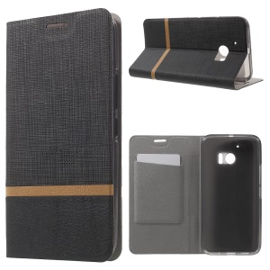 Cross Texture Card Holder Leather Case for HTC 10 with Manganese Steel Sheet - Black