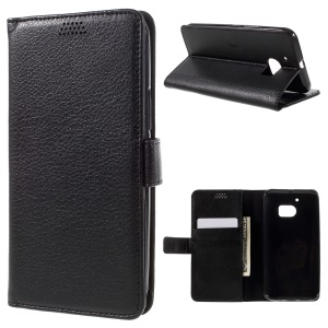 Litchi Texture Wallet Stand Leather Case for HTC 10 - Black