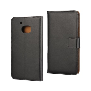 Genuine Split Leather Wallet Case Stand for HTC 10 / 10 Lifestyle - Black