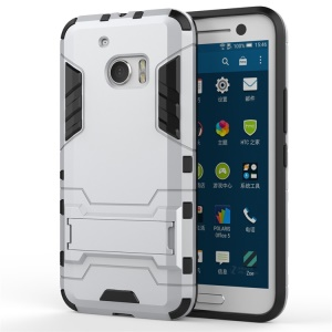 PC TPU Hybrid Back Cover for HTC 10/10 Lifestyle with Kickstand - Silver