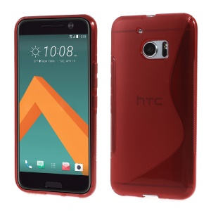 S Shape Flex TPU Shell Case for HTC 10 / 10 Lifestyle - Red