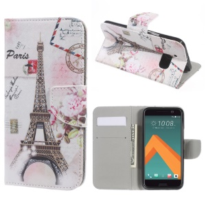 Wallet Leather Stand Phone Case for HTC 10 / 10 Lifestyle - Paris Eiffel Tower